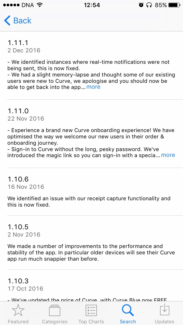 Updates for the Curve app in the iOS App Store