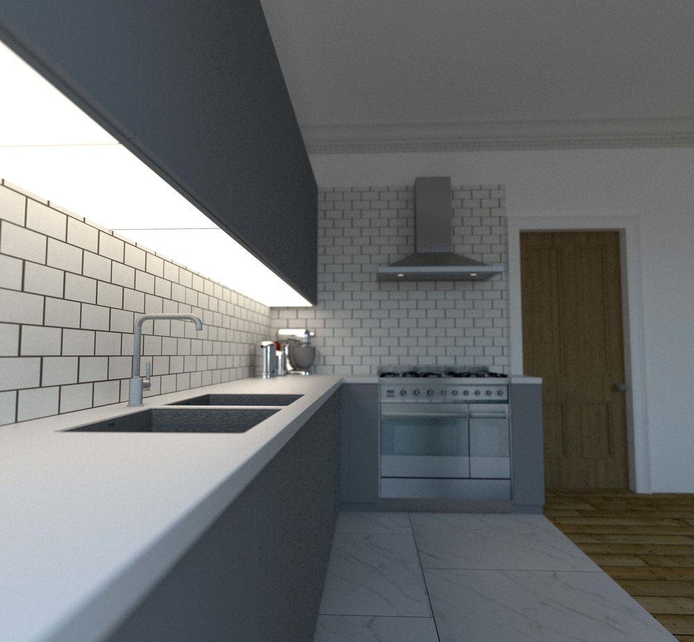 Veddinge Grey Kitchen Cabinets by Ikea, Everest Corian countertop with a Smeg Symphony Range Cooker and Hood.