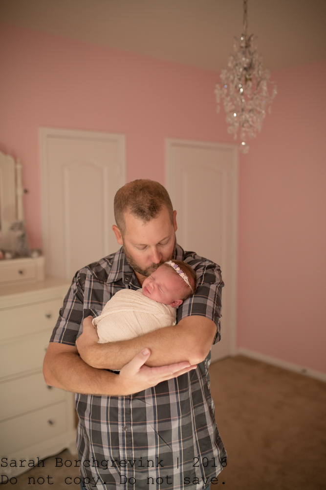 Dad and Daughter Newborn Pictures