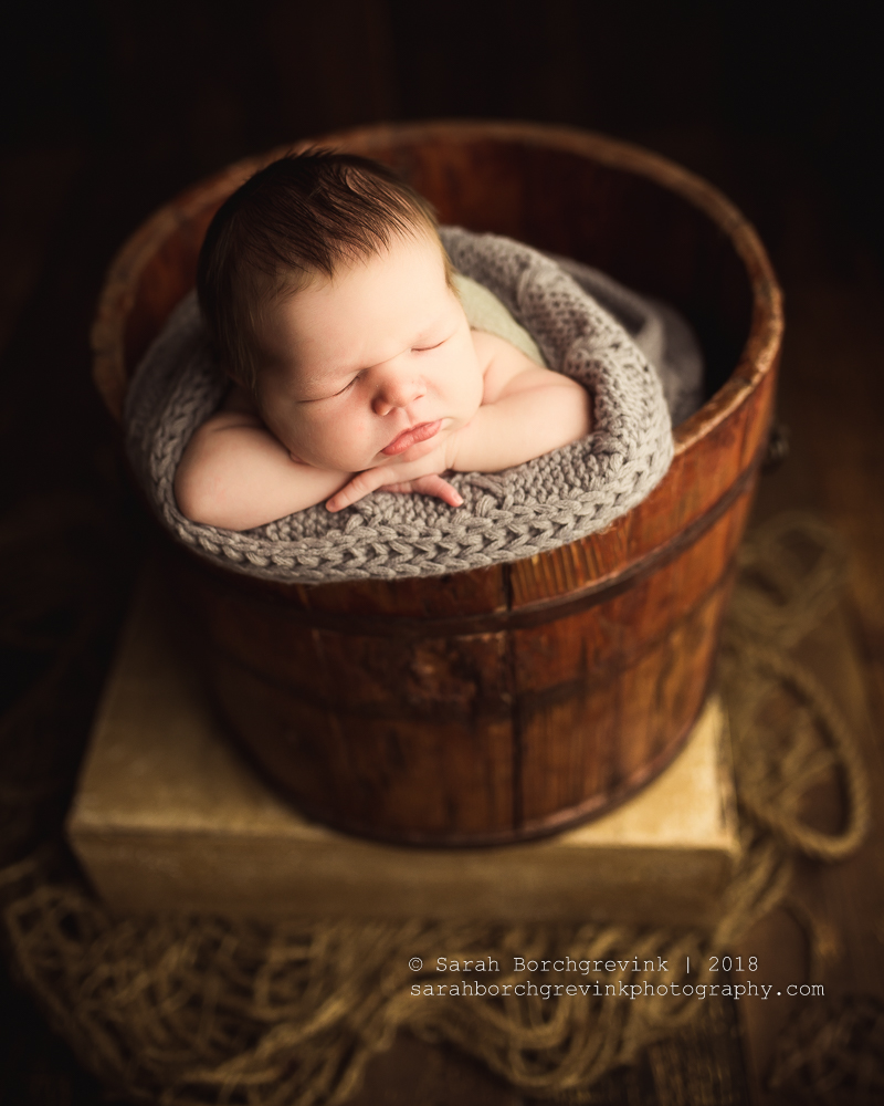 Bucket Posing Newborn Photography