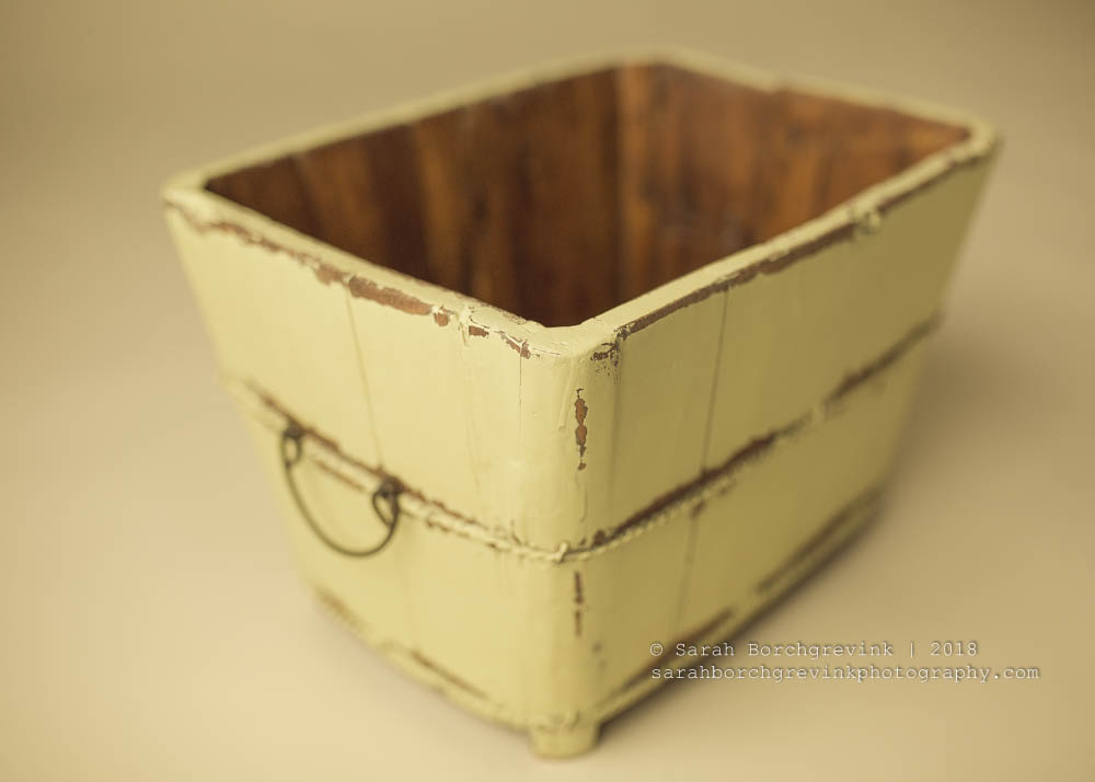 Yellow Wooden Bucket Newborn Photos