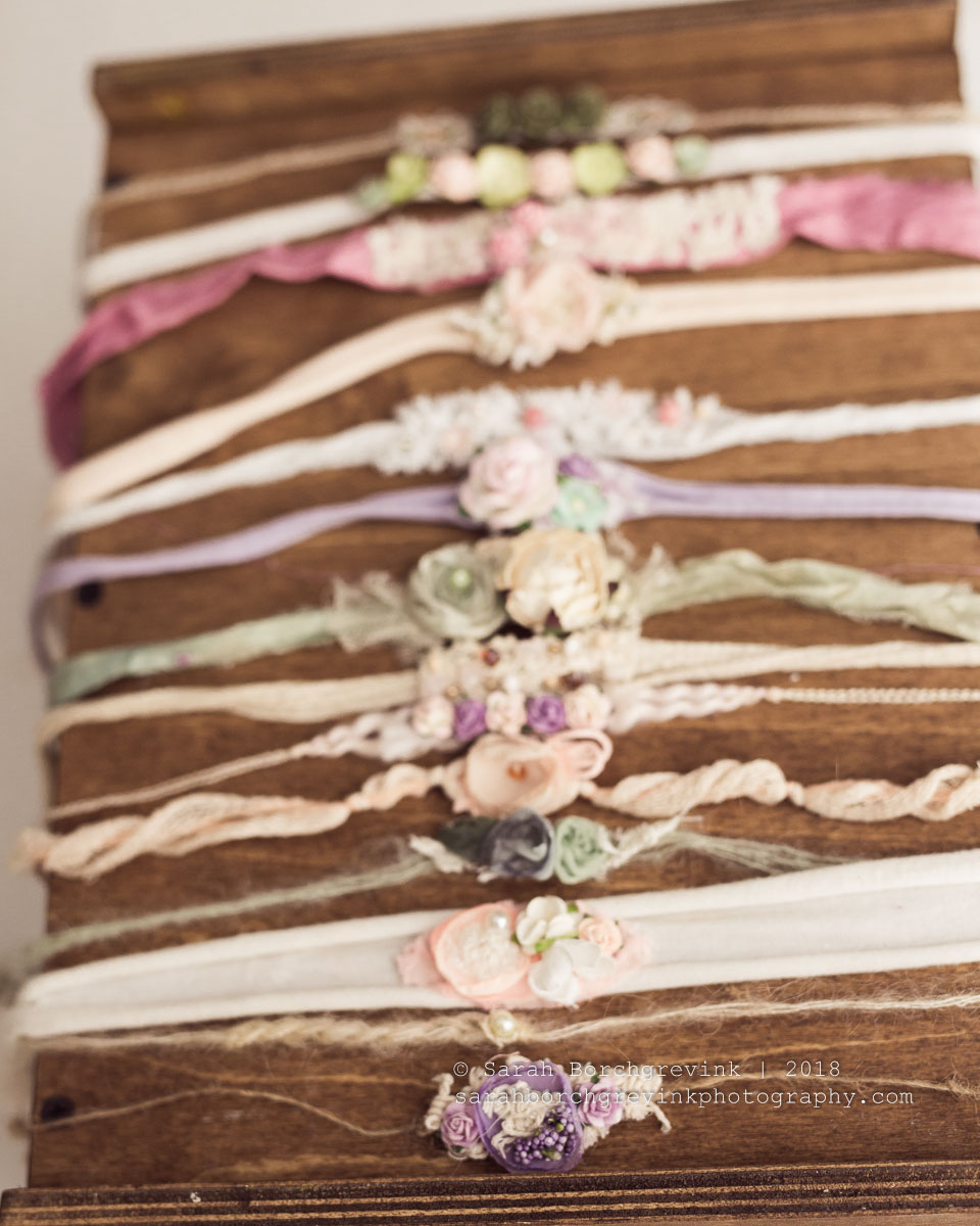feminine and dainty newborn girl headbands