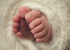 Macro images of baby girl's toes
