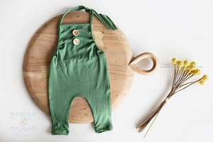 Green baby boy outfit romper for professional photos