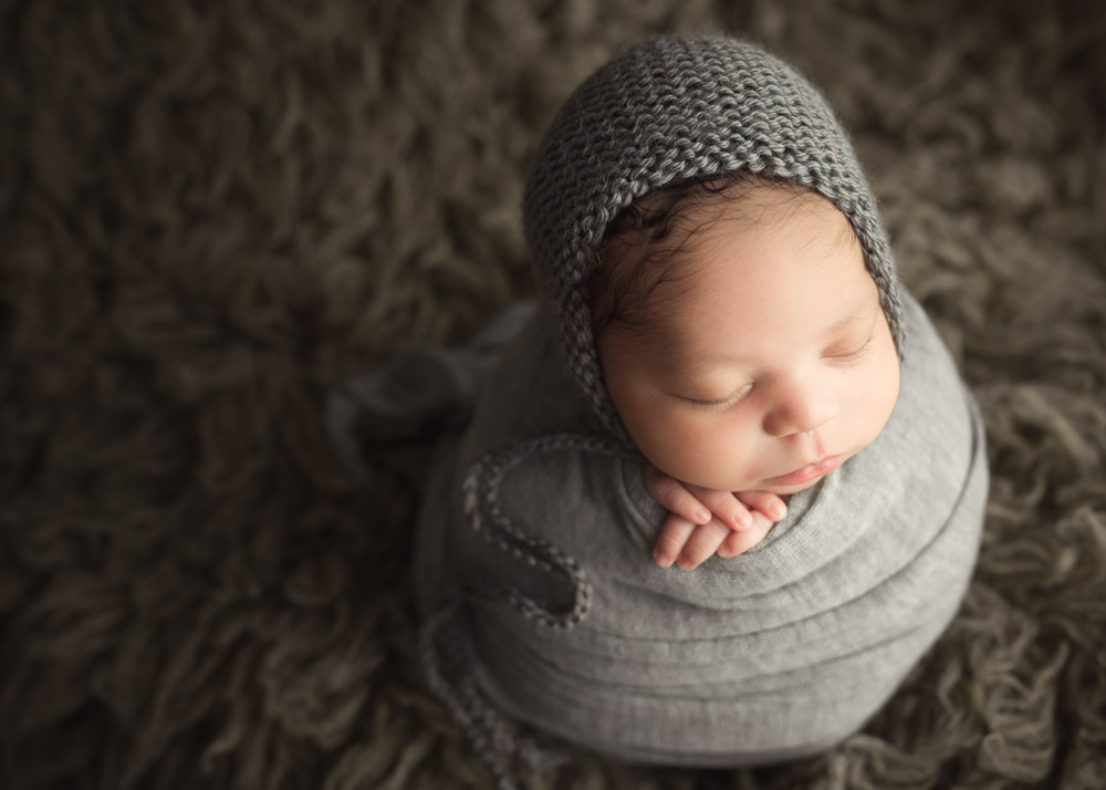 potato sack newborn wrapping grey