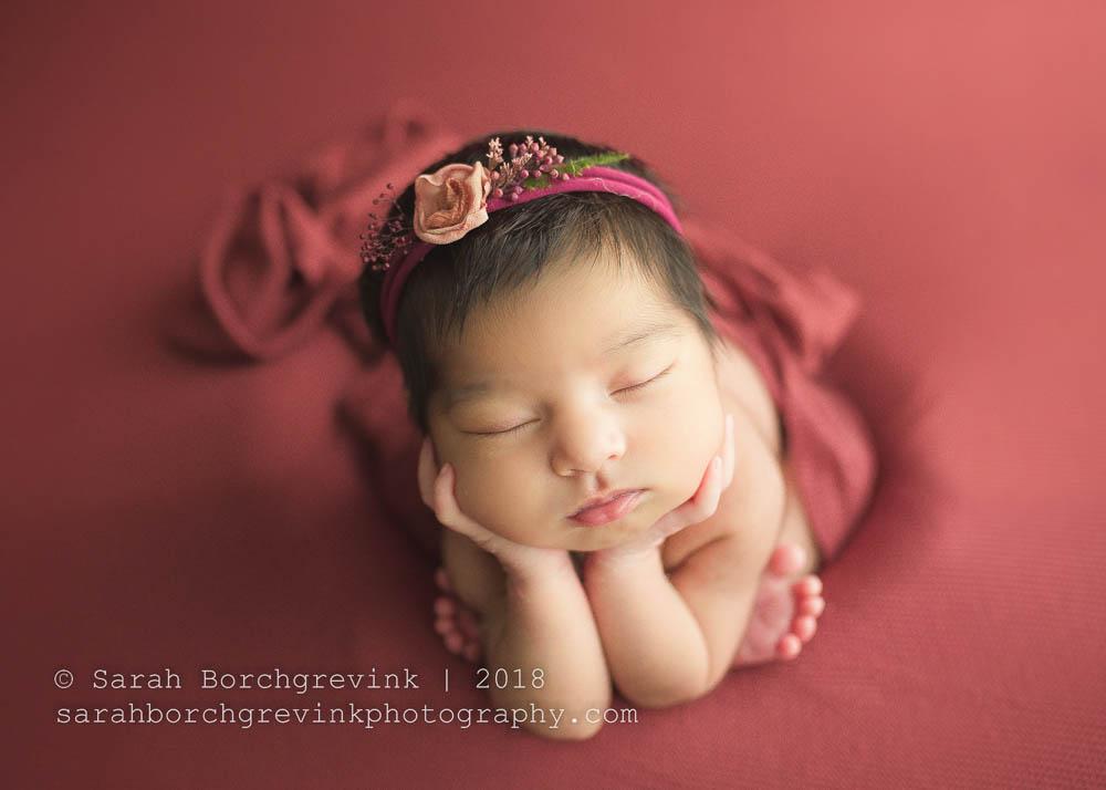 red and burgundy newborn girl headband