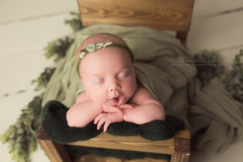 greenery and garland baby girl photoshoot