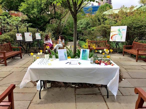 """Emergence"" exhibit at St. Luke's Gardens in Manhattan's West Village"