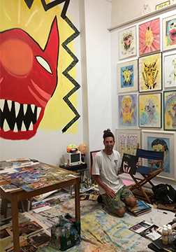 Billy working in his studio at Art Space NJ