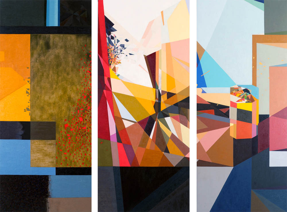 "Enclosed Operetta,  oil on linen, tryptic (3 canvases), 64"" x 27"" each, 2014"