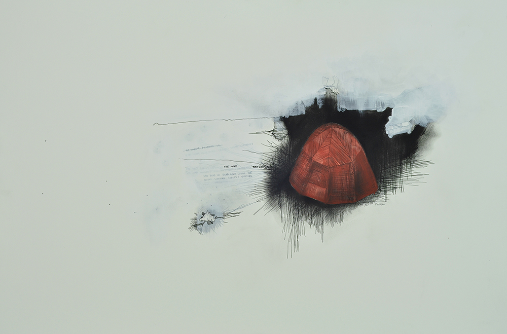 Bear Cove . Ink, graphite, charcoal and acrylic on acid free rag board. 51cm x 76cm. 2015.