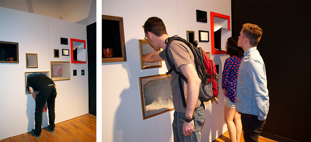 "Gallery Visitors interacting with "" A Painting Humming Itself """