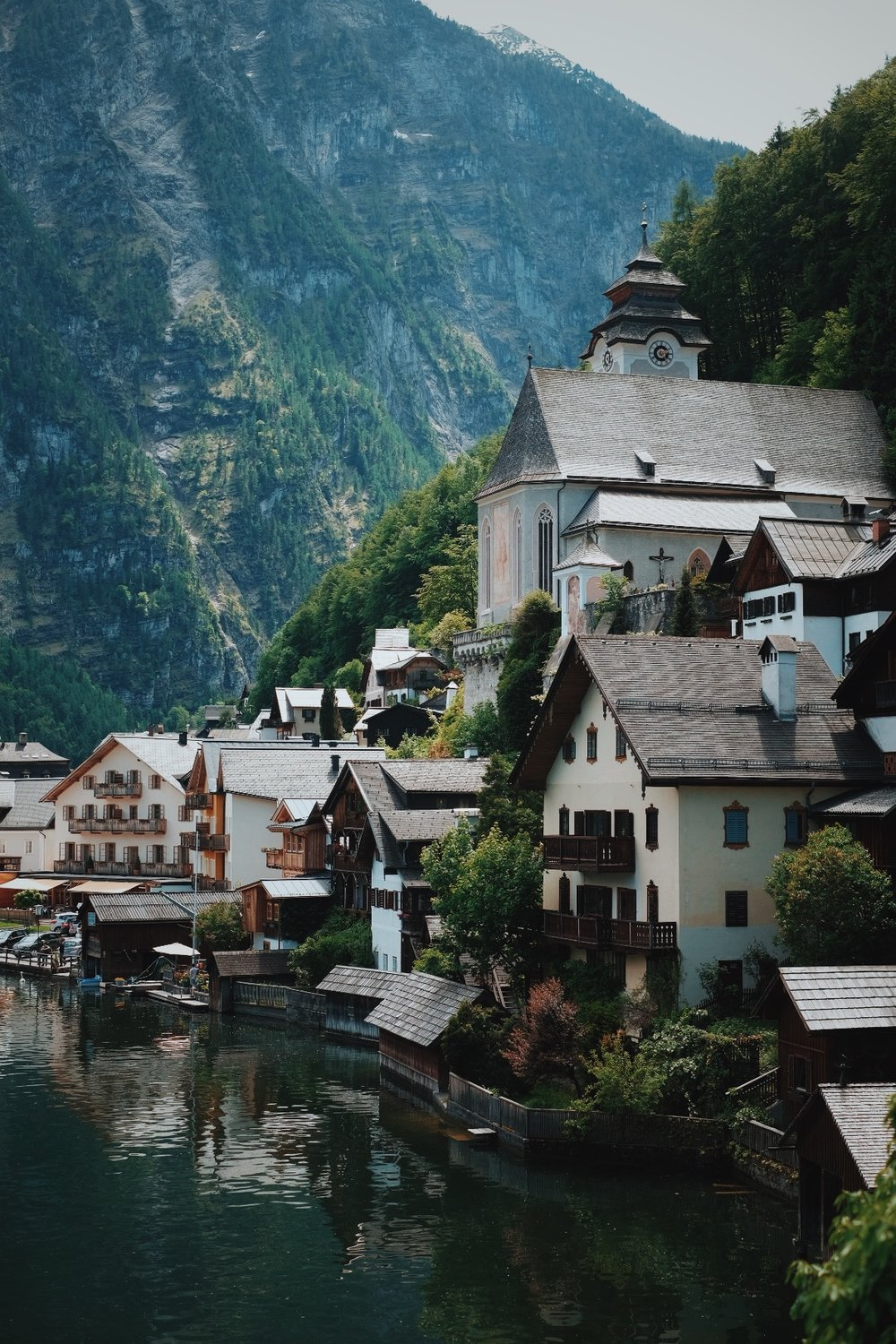The heart of Hallstatt, a small city in Upper Austria.