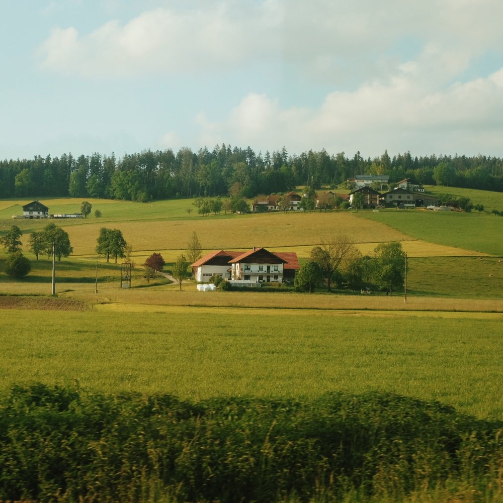 The view during a train ride from Vienna to Salzburg, May 2016.