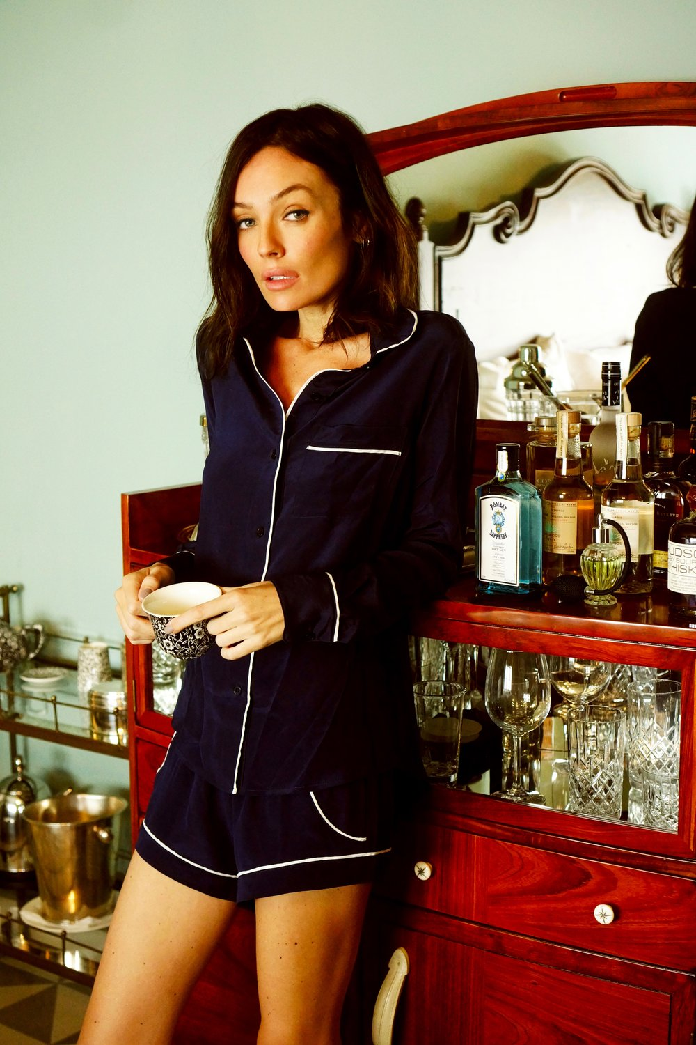Top: Maison Du Soir 'Sophia Long Sleeve Shirt', Navy  Short: Maison Du Soir 'Jaclyn Short', Navy