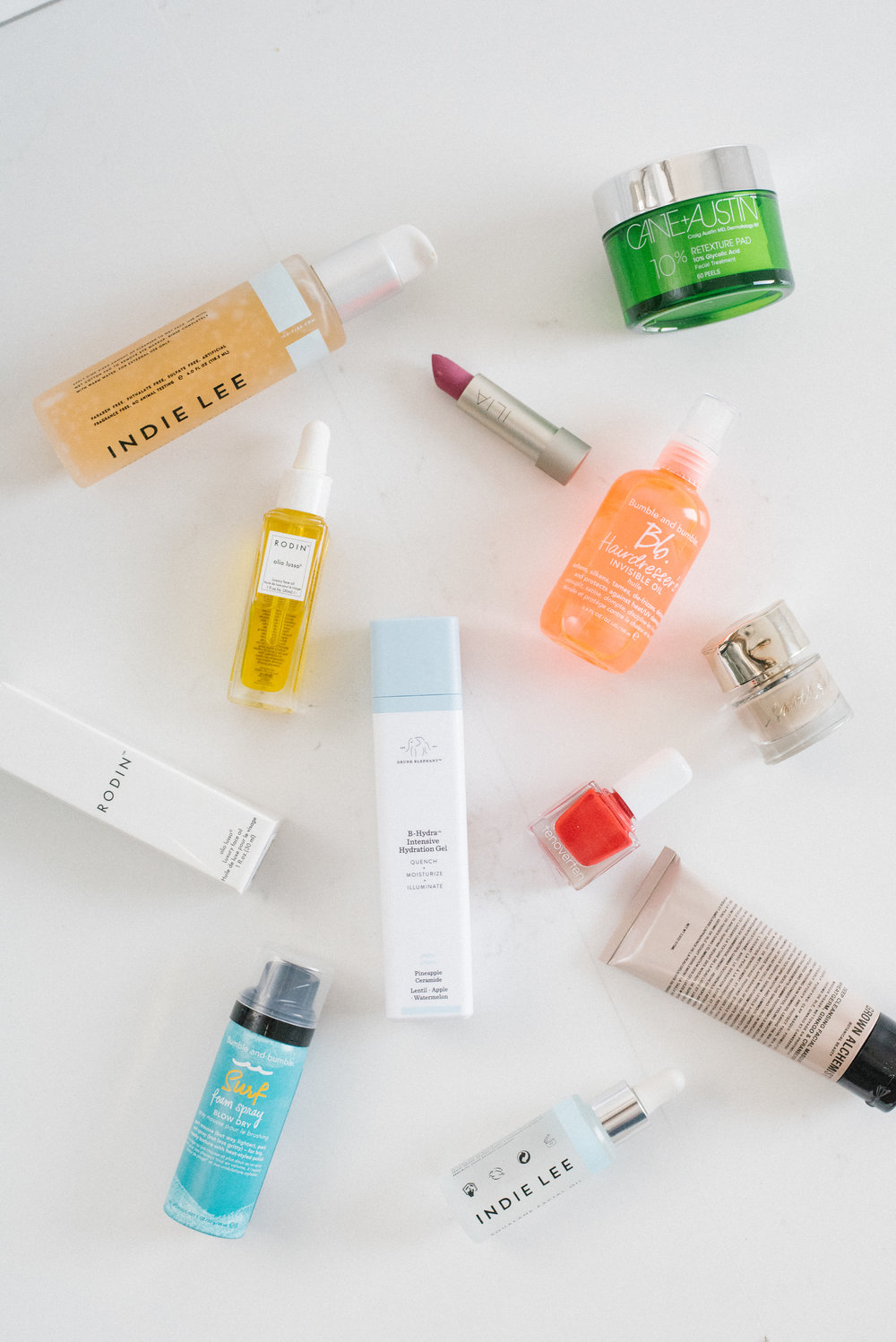 A handful of products from c | two. Featuring: Indie Lee, Grown Alchemist, bumble & bumble, cane + austin, Ilia Beauty, RODIO olio lusso, and Drunk Elephant
