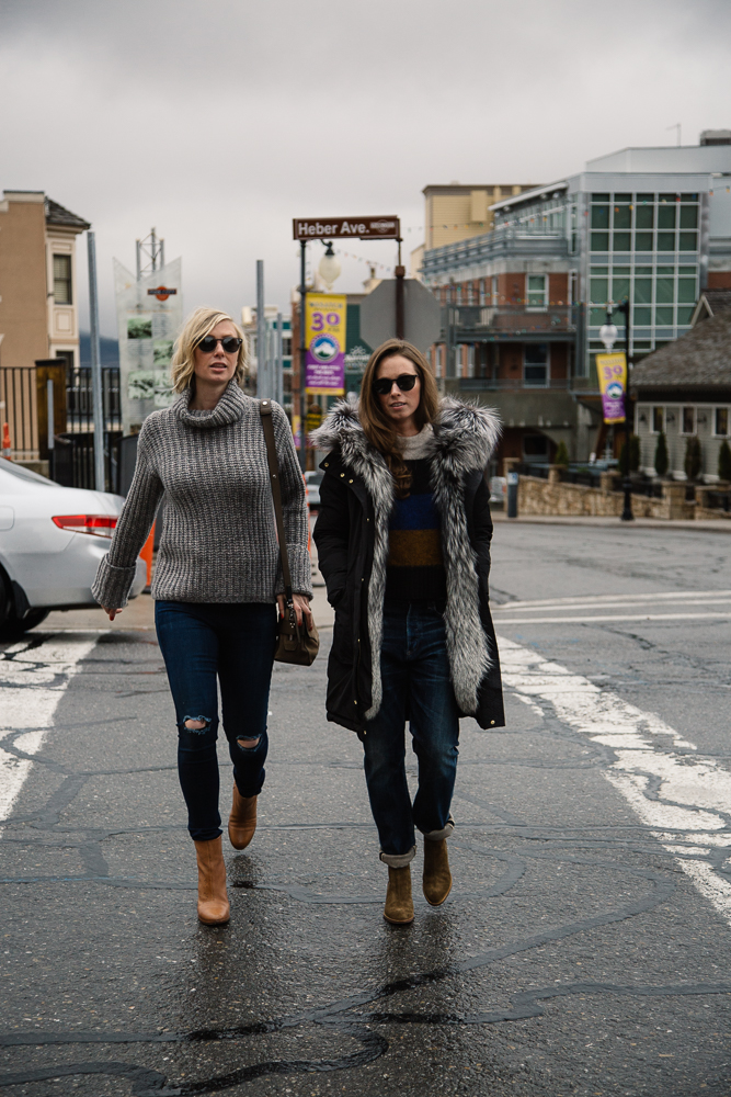 "Left:   Elizabeth and James  Clayton Chunky Sweater   Rag & Bone    10"" High Rise Skinny in Mojave   Oliver Peoples  Sheldrake   Sunnies   Rag & Bone  Ashby Boot in Tan Leather  Right:    Woolrich  Fox Military Parka in Black   Rag & Bone  Britton Stripe Pullover   Citizens of Humanity  Corey Slouchy Slim Jean in Gage   Rag & Bone  Walker Boot in Mineral Suede"