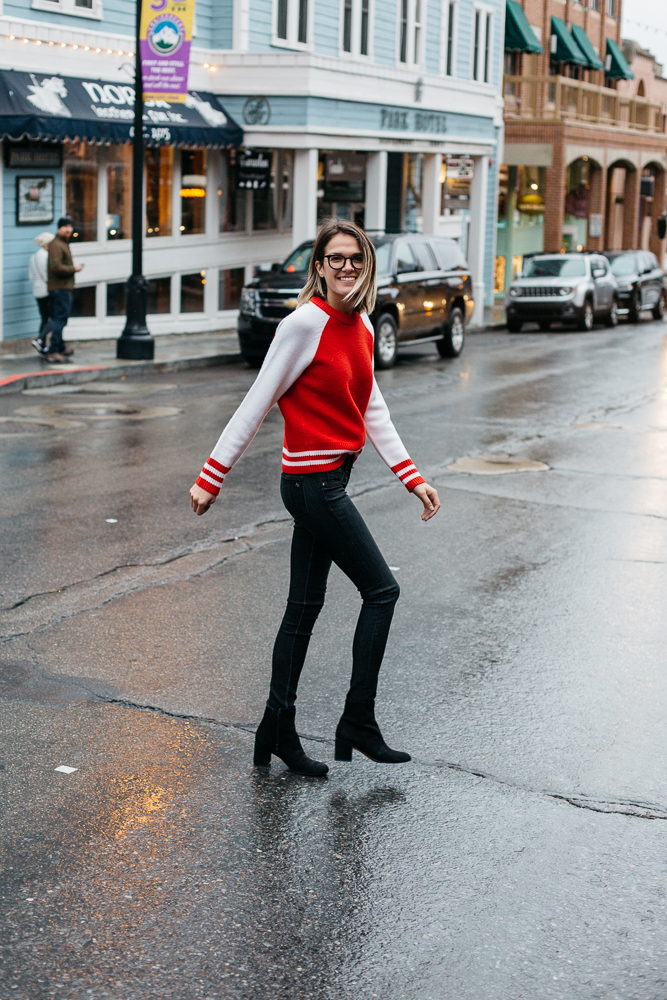 Rag & Bone  Jana Pullover in Fiery Red   Rag & Bone  Skinny in  Black Rae   Vince.  Alona Platform Oxford