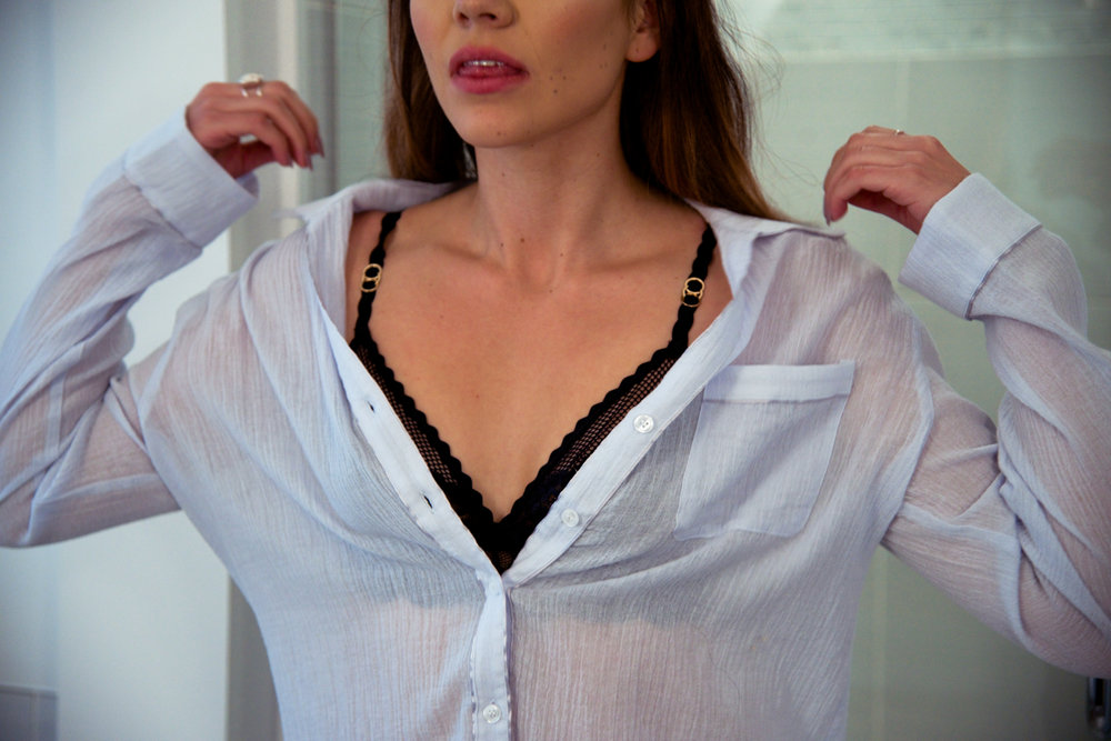 Skin PJ Shirt and crop pant with Piping, Ice Blue  Stella McCartney Sophie Surprising Soft Cup Bra