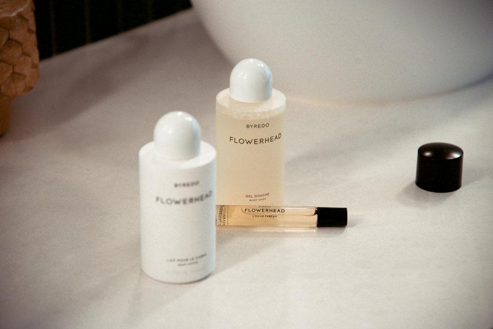 Byredo Perfumed Oil, Flowerhead  Byredo Body Wash, Flowerhead  Byredo Body Lotion, Flowerhead