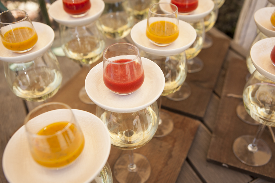 Champagne with strawberry mint and mango basil puree