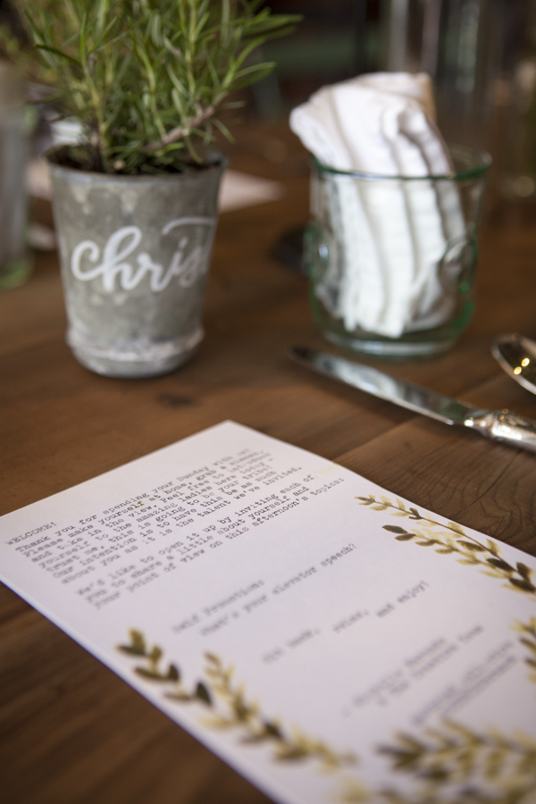 Potted herbs in zinc pots for place setting and typewriter welcome note // SOURCED. laguna beach