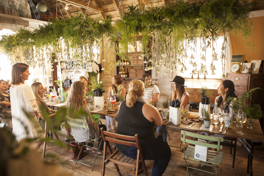 suspended greenery at SOURCED. in Laguna Beach - equal parts event space and creative workspace