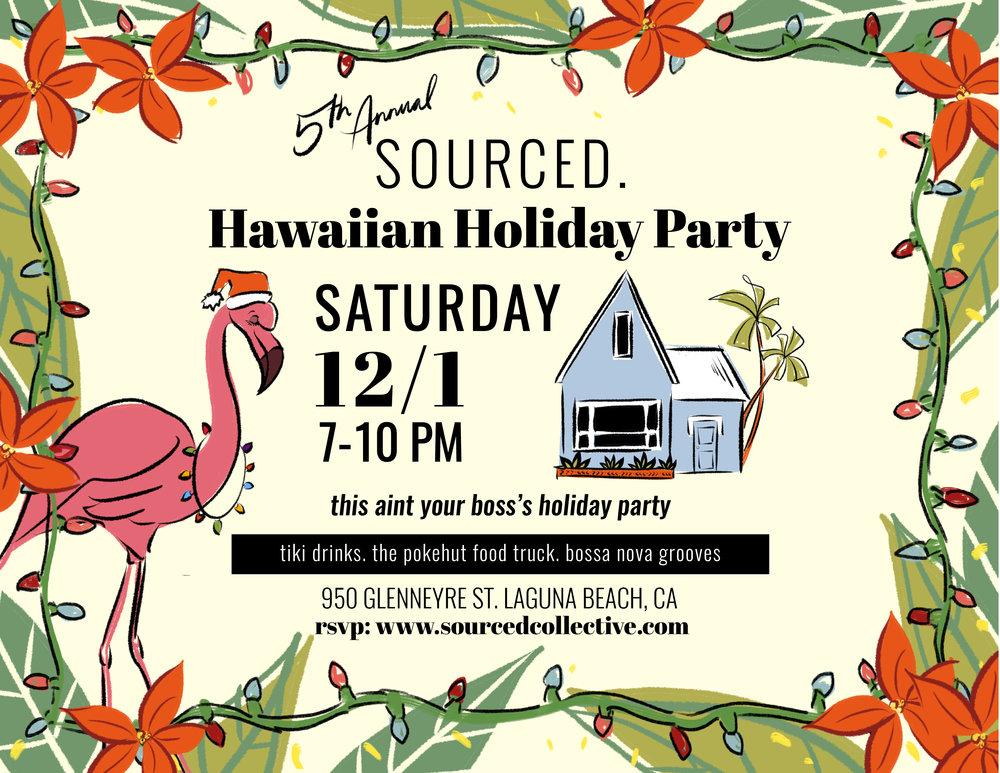 Hawaiian Holiday Party SOURCED. laguna beach
