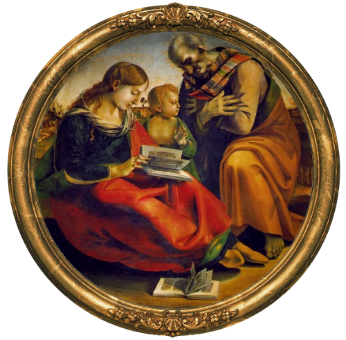 Luca Signorelli. The Holy Family. 1490, Oil on wood, Galleria degli Uffizi, Florence.