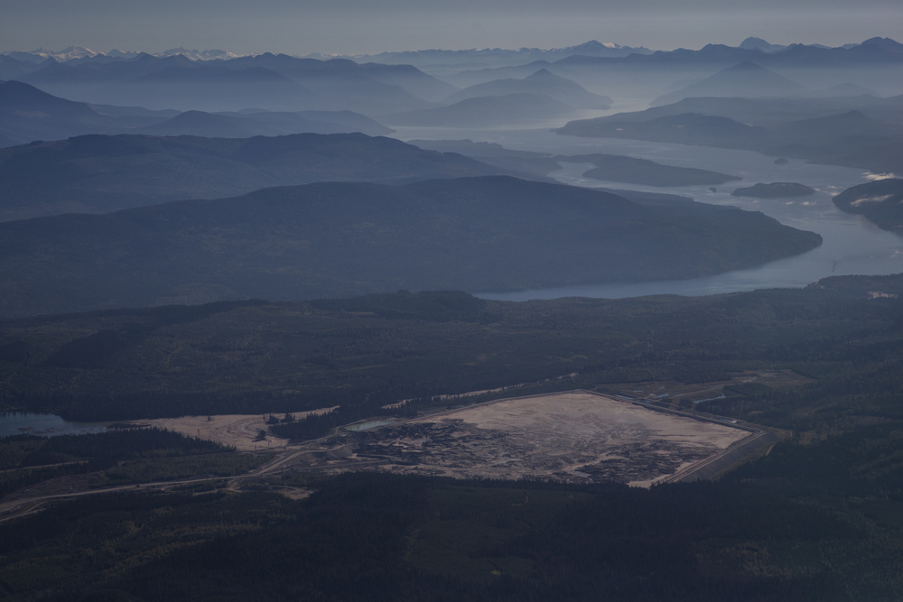 The Mount Polley Mine's tailings pond in stark contrast to the untouched Cariboo Mountains near Likely, British Columbia.