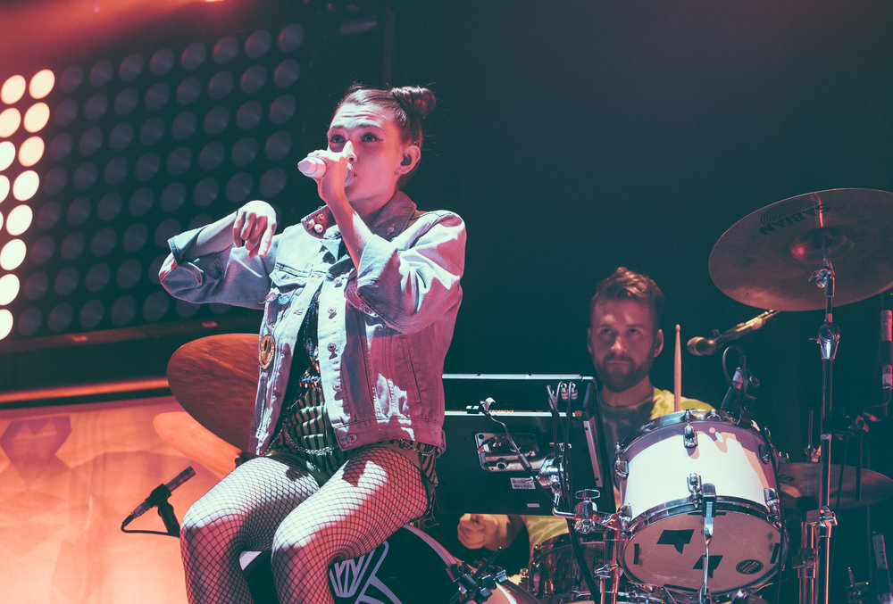 Mandy Lee of MisterWives performs at Legacy Arena at The BJCC in Birmingham, Alabama on April 7th, 2017.   (Photo by David A. Smith/DSmithScenes)