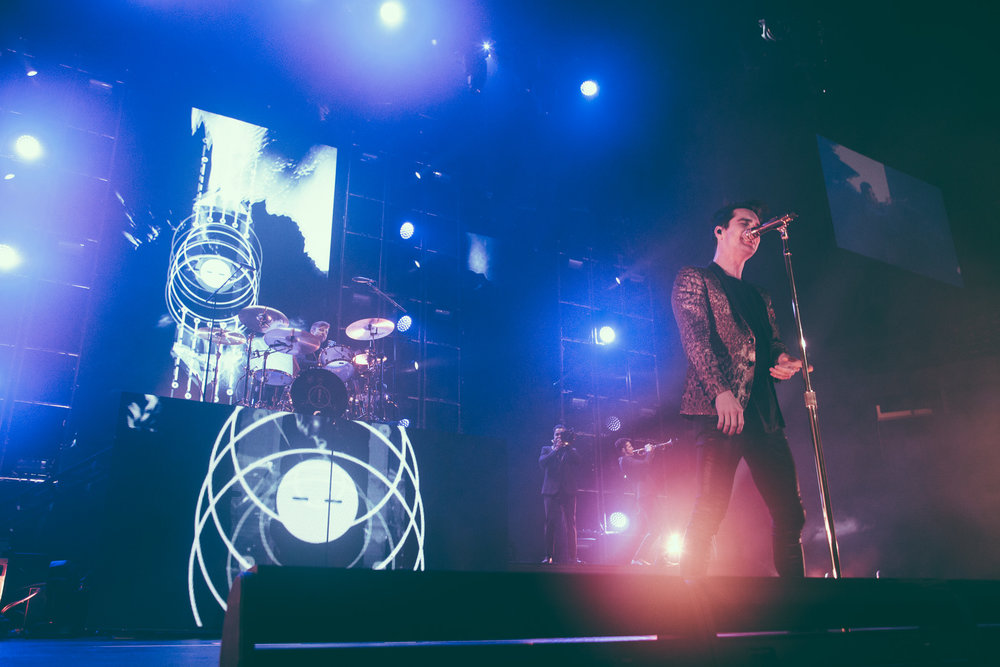 Brendon Urie of Panic! At The Disco performs at Legacy Arena at The BJCC in Birmingham, Alabama on April 7th, 2017.   (Photo by David A. Smith/DSmithScenes)
