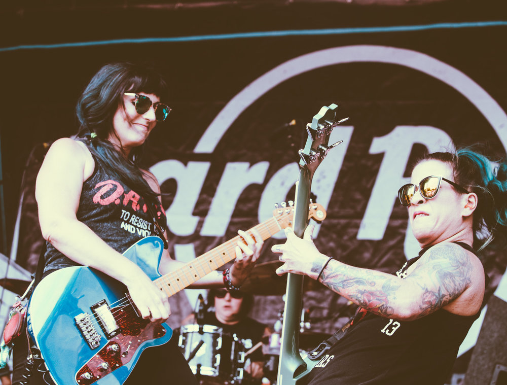Bad Cop / Bad Cop performs in concert at the Vans Warped Tour in Atlanta, Georgia on June 29th, 2017. (Photo by David A. Smith/DSmithScenes)