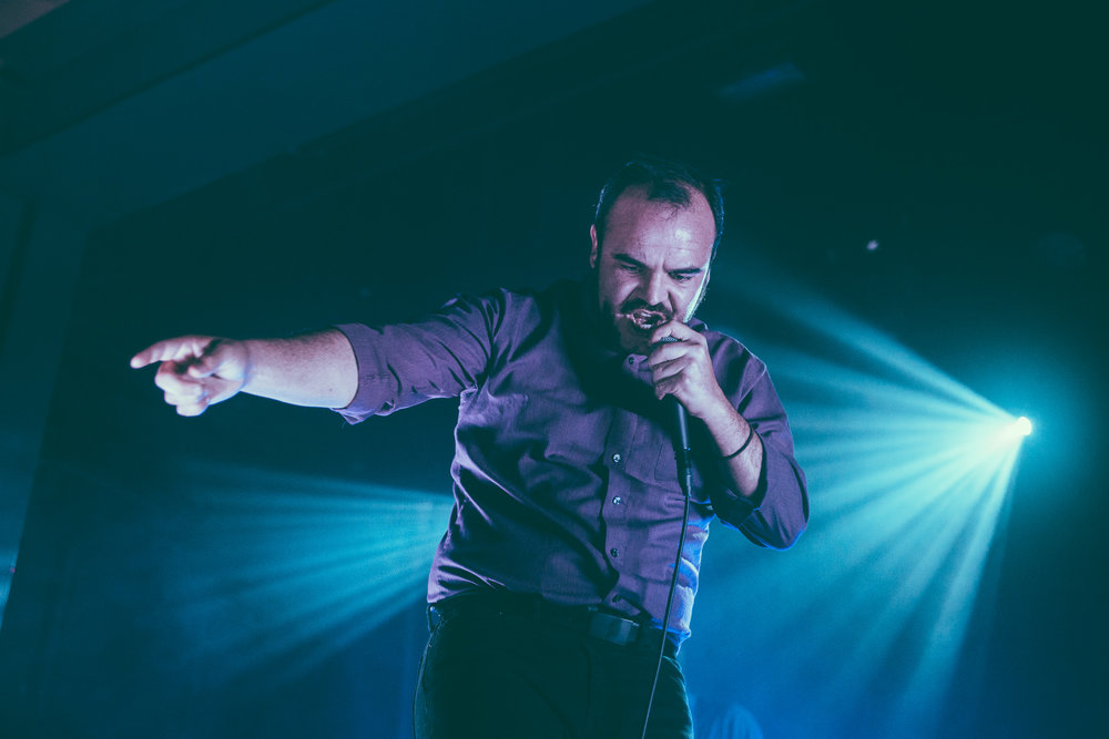 Samuel T. Herring of Future Islands performs in concert at Iron City in Birmingham, Alabama on September 10th, 2017 (Photo by David A. Smith/DSmithScenes)