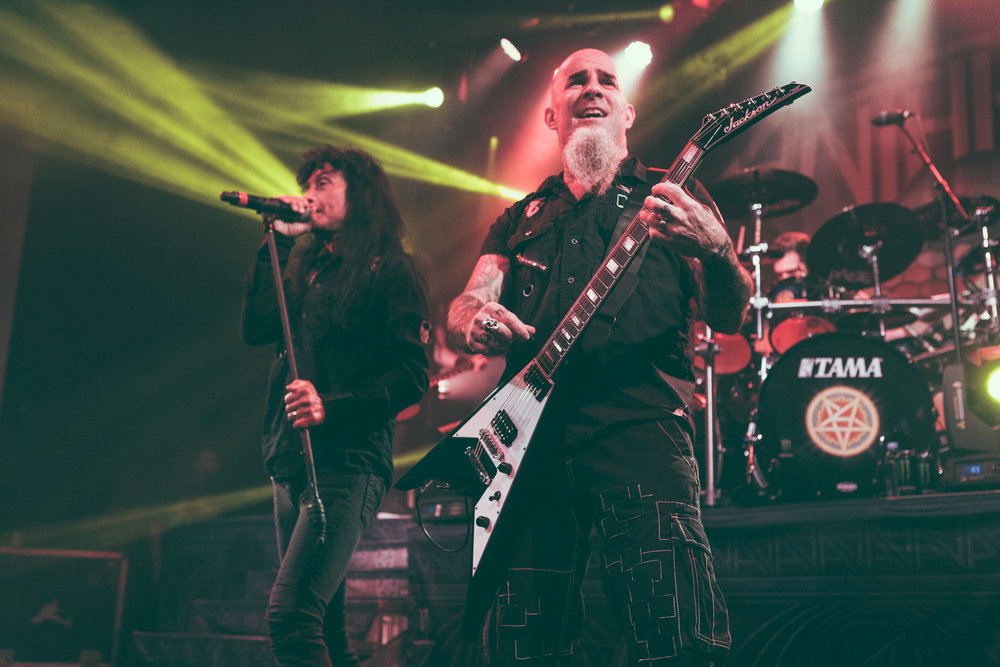 Joey Belladonna and Scott Ian of Anthrax perform at Iron City in Birmingham, Alabama on February 6th, 2018. (Photo by David A. Smith/DSmithScenes)