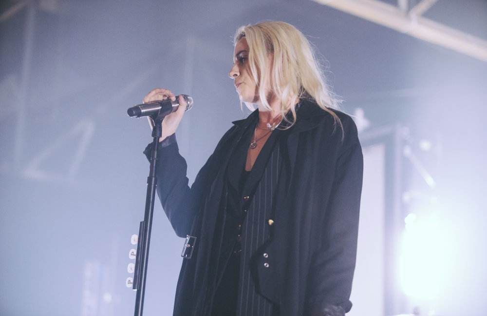 Lyndsey Gunnulfsen aka Lynn Gunn of PVRIS performs in concert at Marathon Music Works in Nashville, Tennessee on October 6th, 2017. (Photo by David A. Smith/DSmithScenes)
