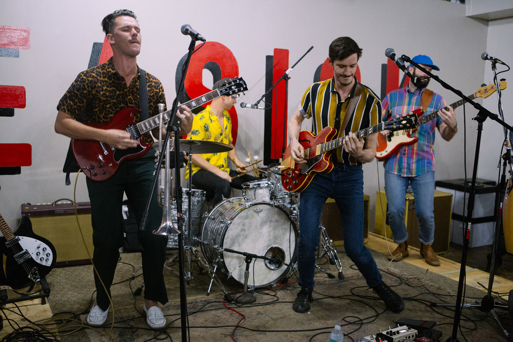 The Brummies perform in concert at Seasick Records in Birmingham, Alabama on April 6th, 2018. (Photo by David A. Smith/DSmithScenes)