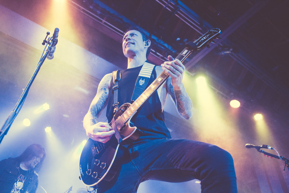 Matt Heafy of Trivium performs at Iron City in Birmingham, Alabama on May 2nd, 2018. (Photo by David A. Smith/DSmithScenes)
