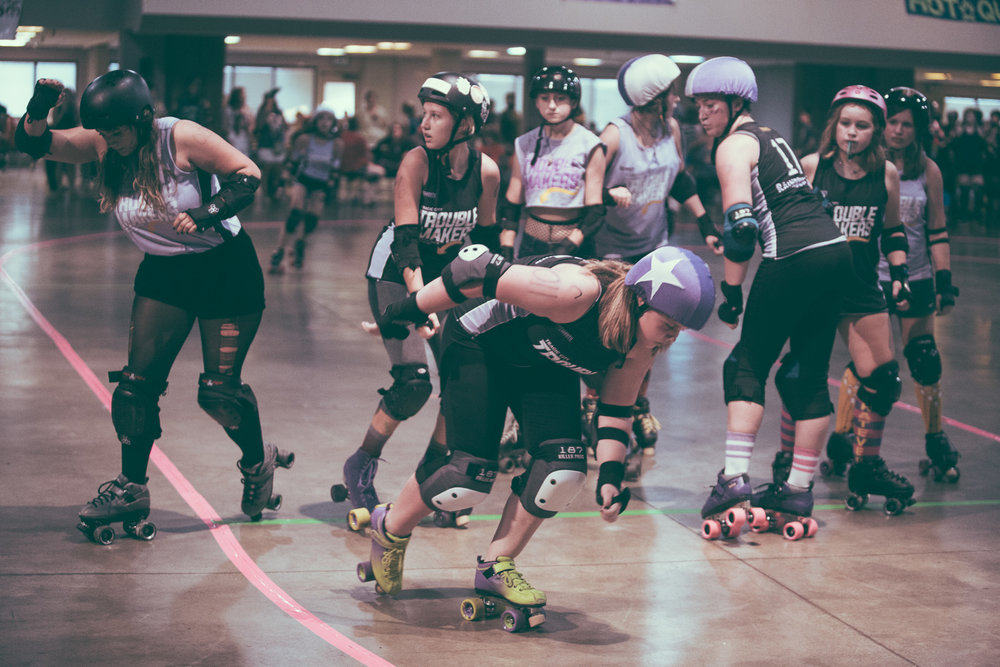 A scene from the debut roller derby bout for the Tragic City Trouble Makers, the junior squad for the Tragic City Rollers, at the Zamora Shrine Center in Irondale, Alabama on August 11th, 2018. (Photo by David A. Smith/DSmithScenes)