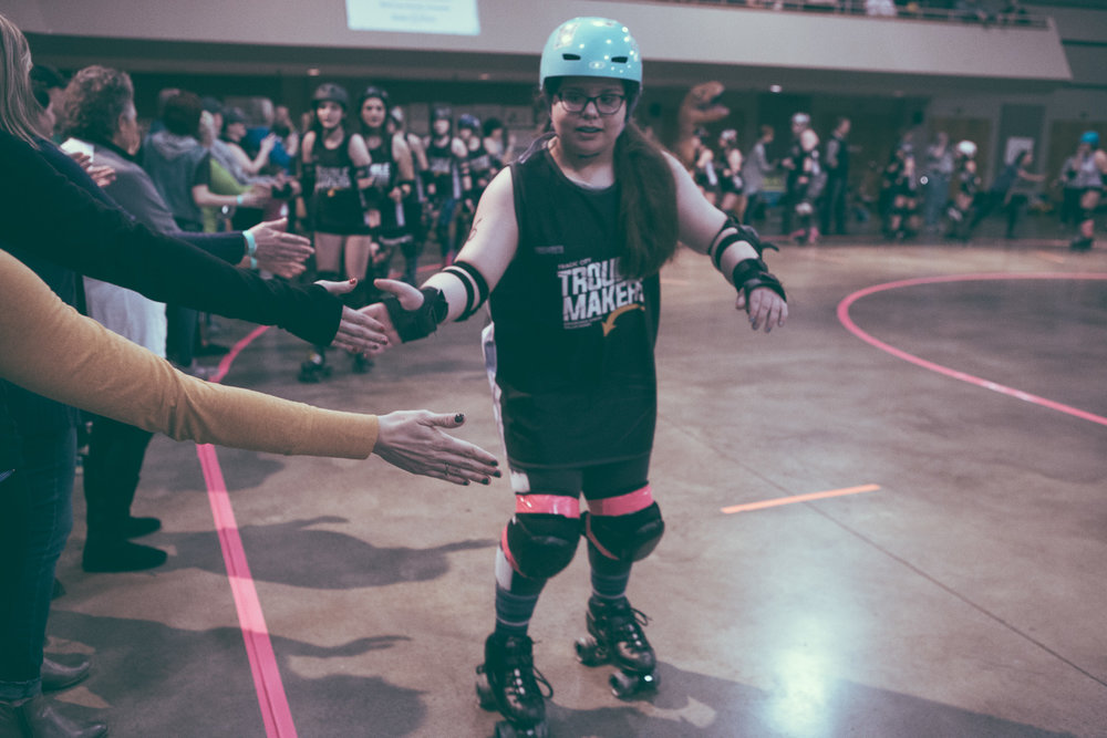 A scene from the roller derby bout between the Tragic City Trouble Makers and the Rocket City Rebels at the Zamora Shrine Center in the Irondale area of Birmingham, Alabama on February 9th, 2019. (Photo by David A. Smith / DSmithScenes)
