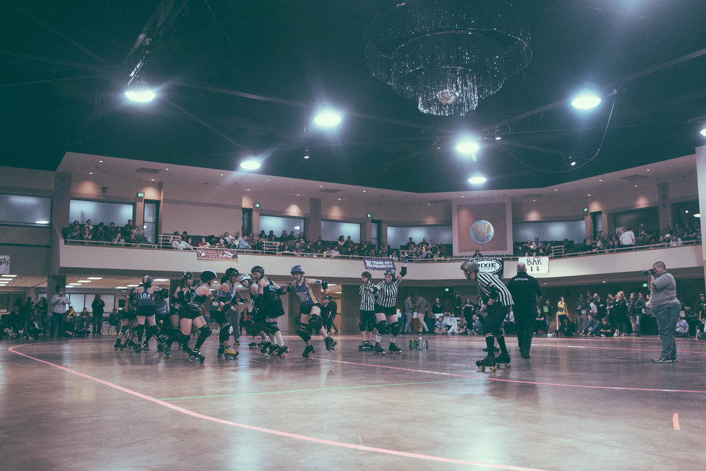 A scene from the roller derby bout between the Tragic City Rollers All-Stars and the Dixie Derby Girls at the Zamora Shrine Center in the Irondale area of Birmingham, Alabama on February 9th, 2019. (Photo by David A. Smith / DSmithScenes)