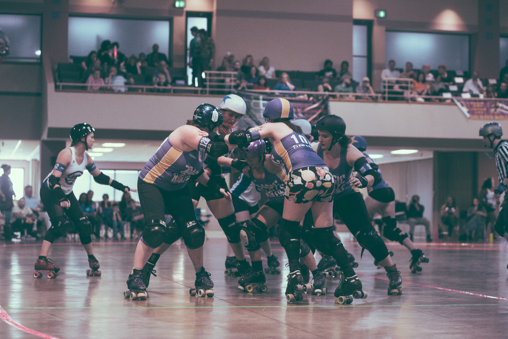 A scene from the roller derby bout between the Tragic City Rollers All-Stars and the Nashville Roller at the Zamora Shrine Center in Birmingham, Alabama on March 23rd, 2019. (Photo by David A. Smith / DSmithScenes)