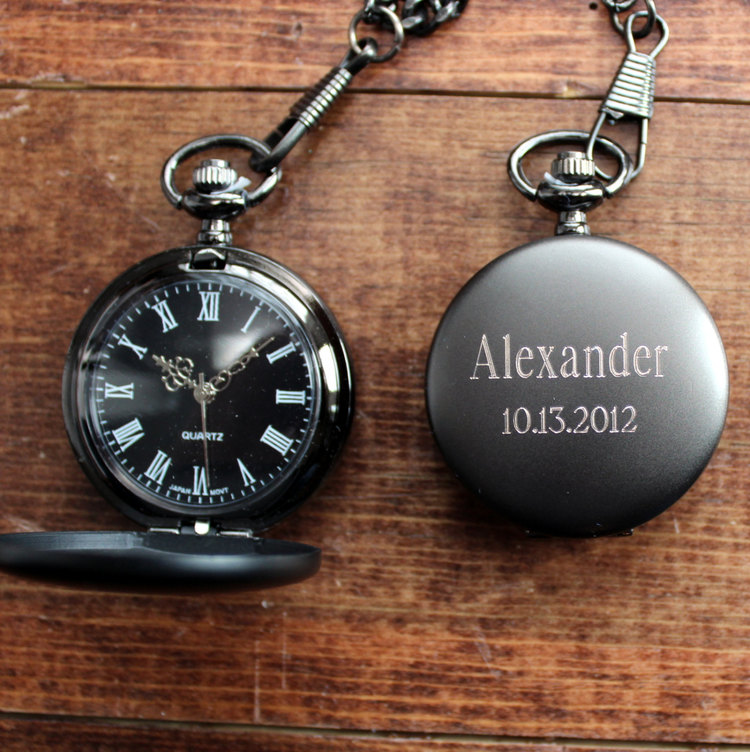 mens gunmetal pocket watch personalized groomsmen gift for him