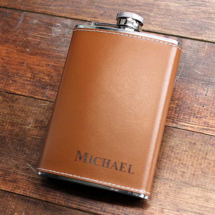 genuine brown leather 6 oz hip flask personalized in bottom right