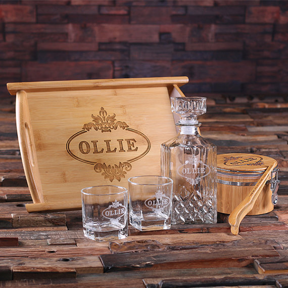 whiskey barrel  decanter  cocktail set  bourbon glasses  beer caddy  groomsmen gifts  gifts for