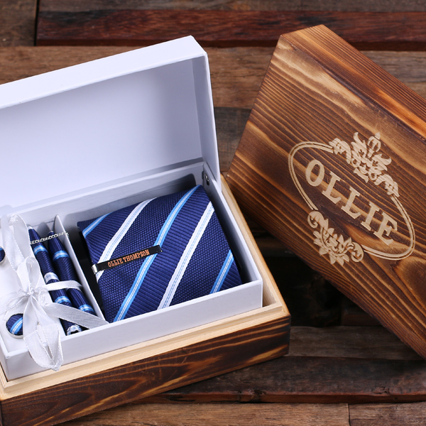 440ded622606 Classic Navy Blue and Striped Tie with Personalized Tie Clip, Cuff Links,  Pocket Square and Wood Box, Personalized, Engraved, Groomsmen, Best Man, ...