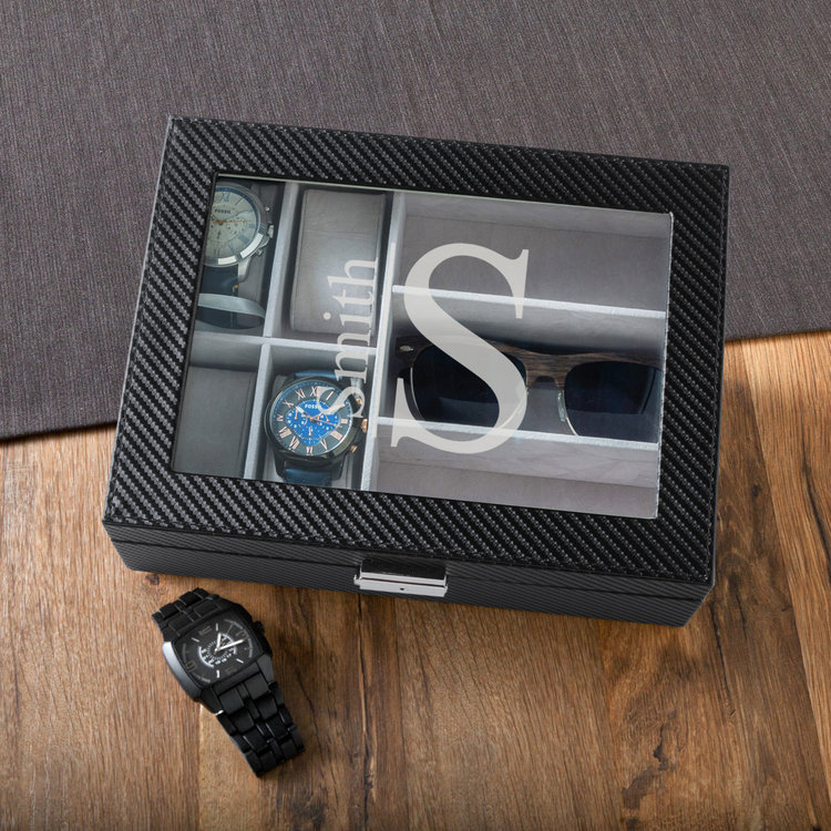 men s sunglasses and watch box in carbon fiber look personalized
