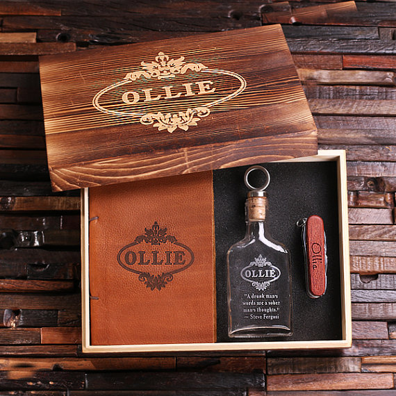 4pc Mens Gift Set With Leather Journal Wood Swiss Knife And Glass Whiskey Flask