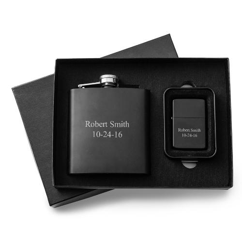 Black Matte Hip Flask And Lighter Gift Set