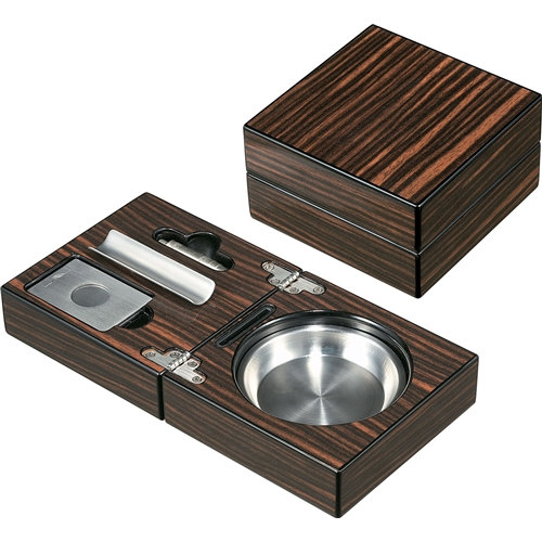 Wood Cigar Ashtray With Cutter And Punch